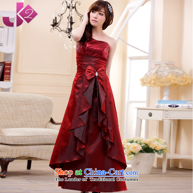 2015 new stylish Jk2.yy on chip Bow Tie long evening dress shoulder dresses bows services noble atmosphere long skirt xl evening wine red are code around 922.747 recommended 100