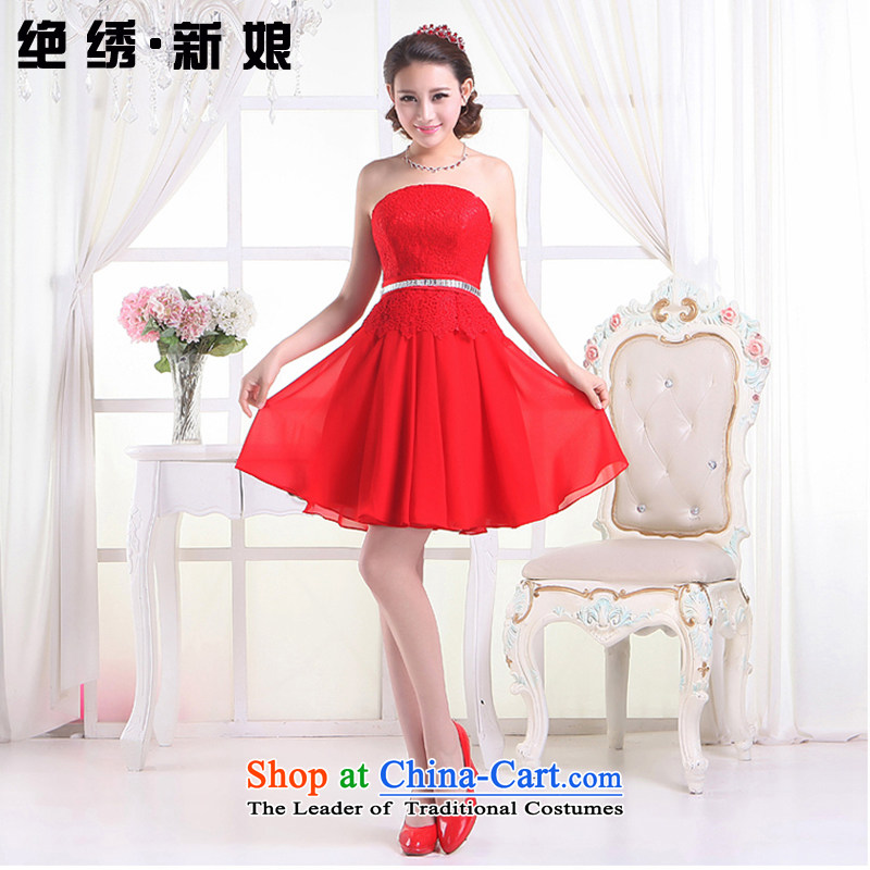 Embroidered short of the bride is wiping the chest bridesmaid lace small short skirts marriages red bows evening dresses 201 new strap butterfly engraving embroidery lace red LF930 XXL Suzhou Shipment