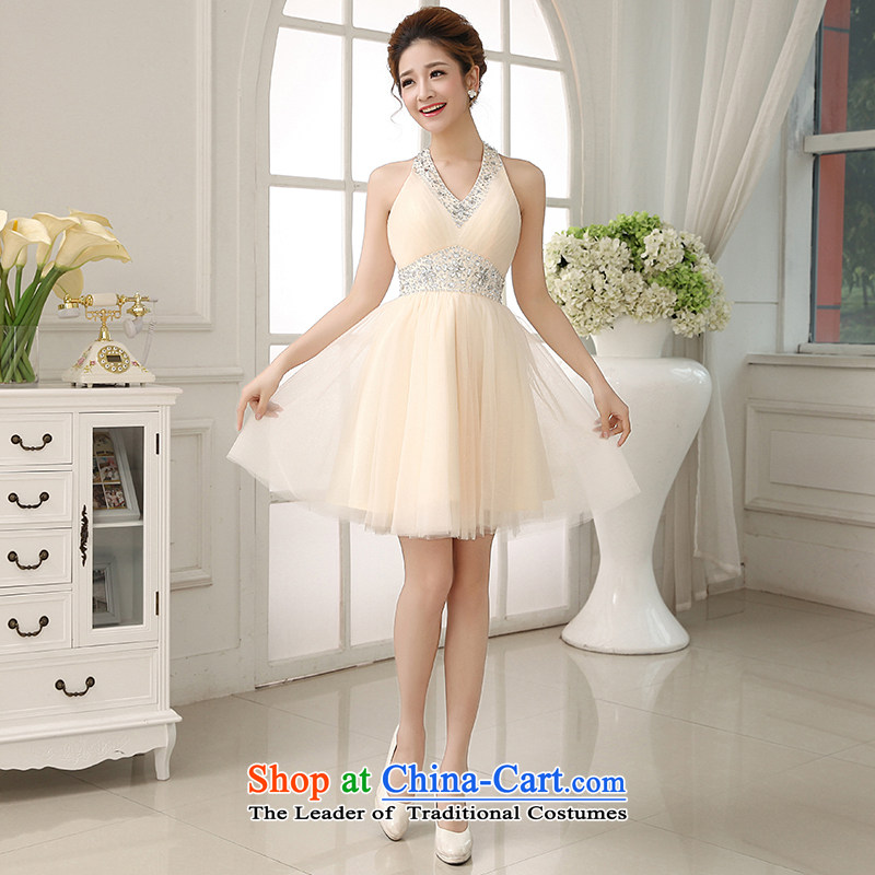 The HIV NEW 2015 Wedding Dress Short of bows bridal dresses marriage stylish also dress Hang Sau San bridesmaid evening dress L0030 light champagne color XL