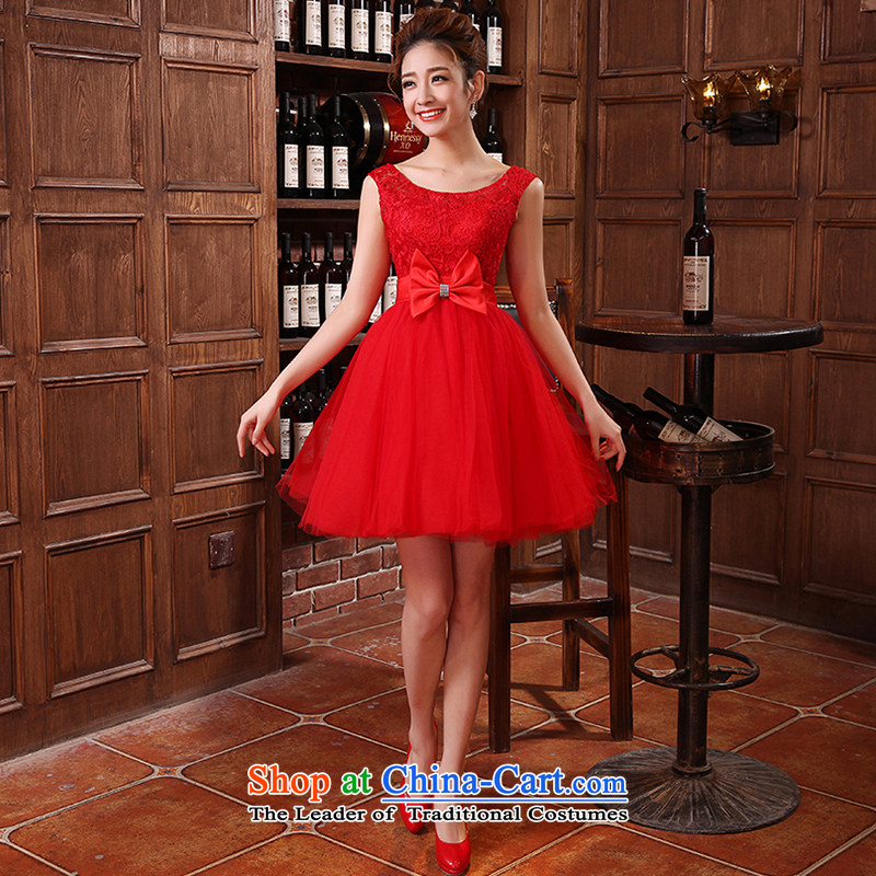 Hiv Miele wedding dresses 2015 new bride Han version package bows services will shoulder straps L0026 red light champagne L0027 RED?S