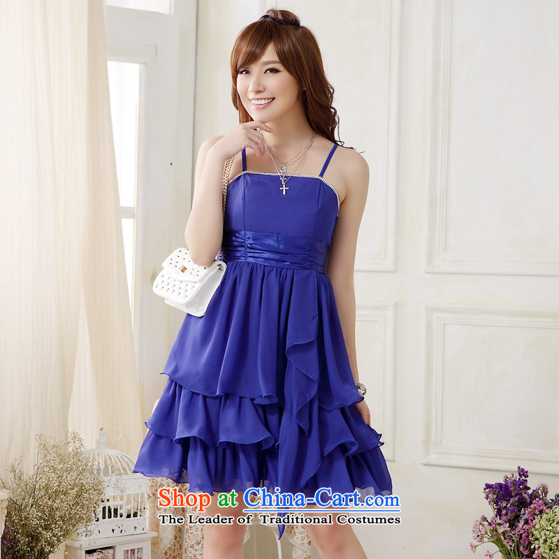 ?Western wind light drill Jk2.yy cake princess skirt larger evening dress small dress skirt (Feed paper clip) J9908 fine waist?XXXL blue