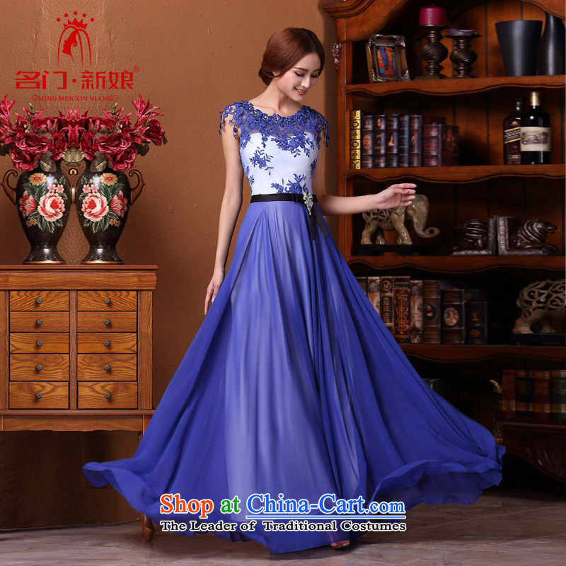 A new 2015 bride retro dress porcelain Po-blue dress bows dress 595 BLUE L