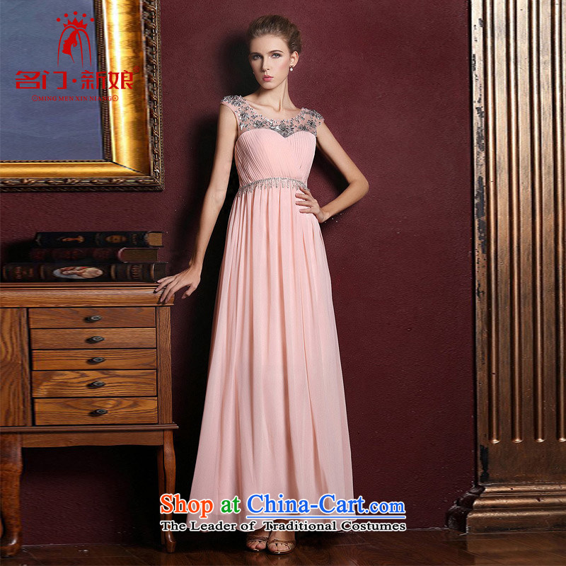 A Bride dress?new dresses marriage 2015 bows services bridesmaid long elegant evening dresses?332?pink?L