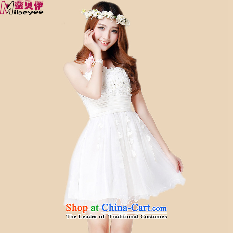 Honey bej new sexy bare shoulders water drilling weaving flower buds Mesh Chest wiped off yarn skirt bows services evening dresses dresses princess wedding dress bridesmaid skirt white are code