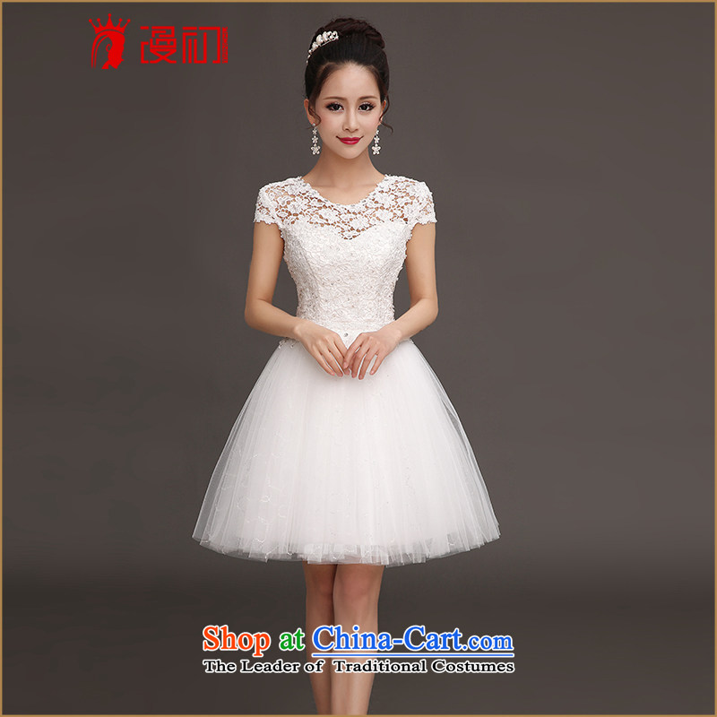 In the early 2015 new man bridesmaid short of small dress skirt bride evening dress short of a field shoulder lace princess skirt white?L