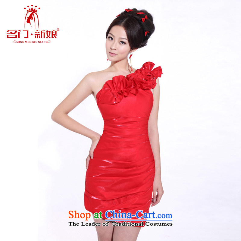 A stylish bridal dresses bridesmaid shoulder small dress bridesmaid mission dress 358 RED聽M