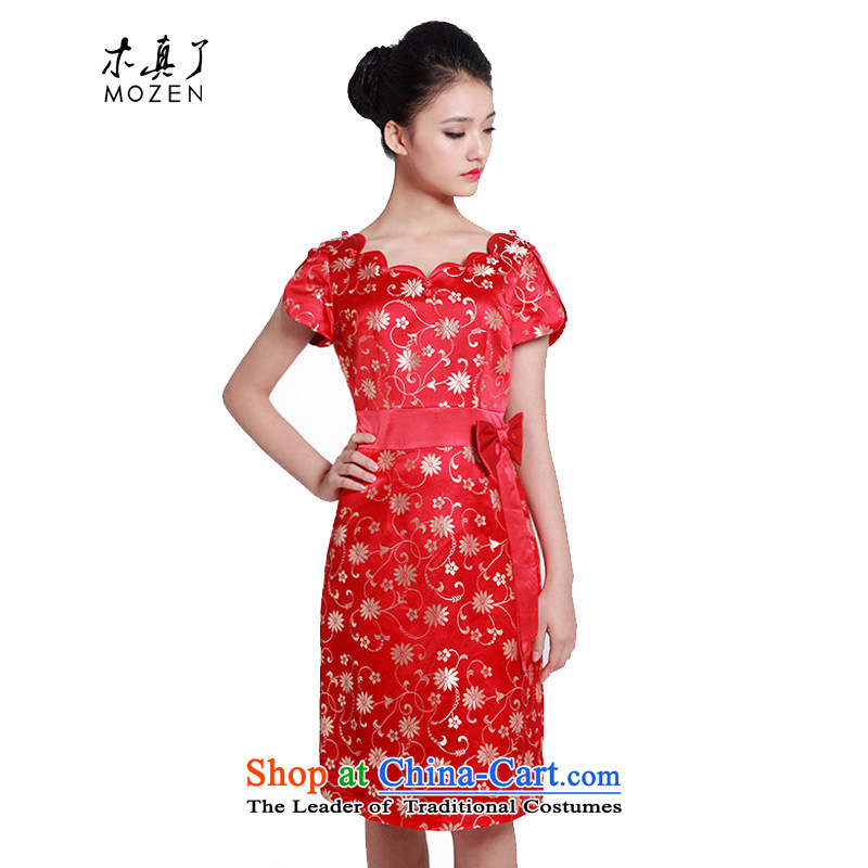 Wooden spring and summer of 2015 really new Chinese wedding dress Bridal Services Improved qipao bows dresses�01237 04 deep red�M
