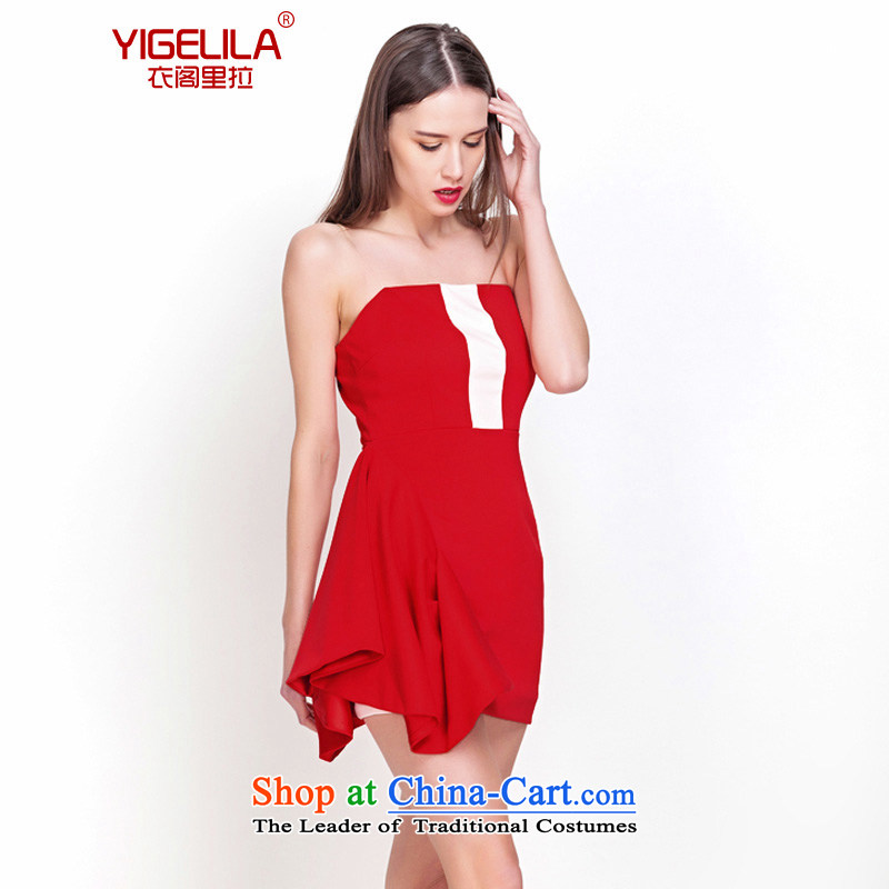 Yi Ge lire _YIGELILA temperament aristocratic small dress wedding banquet bows dress skirt Fashion video thin chairpersons Sau San clothing wine red 6562 M