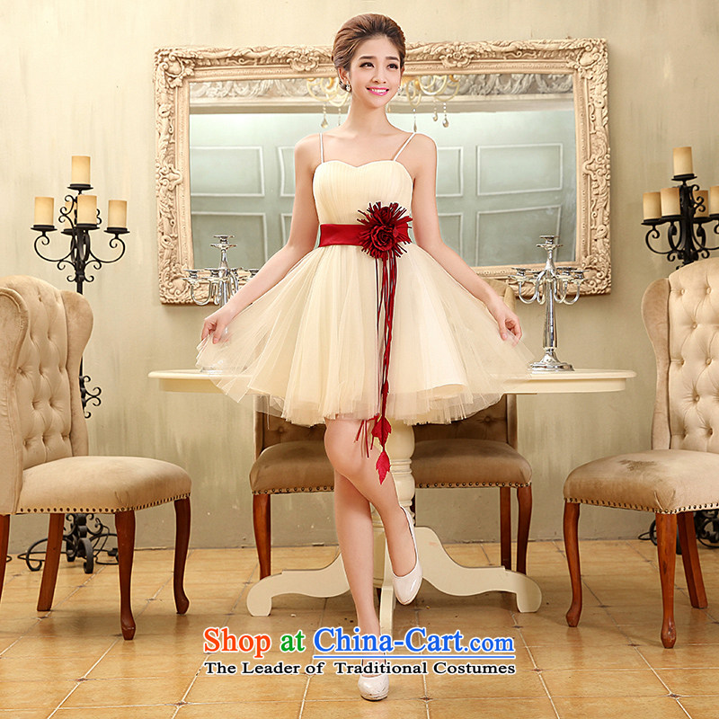 Hiv Miele wedding dresses new 2015 evening dresses marriages bows to Korean short, light champagne color will?L0025?light champagne color?S