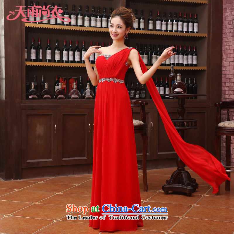 Rain-sang yi?2015 new Products Home Sweet bride wedding dresses shoulder stylish long marriage bows services LF182 RED?XL