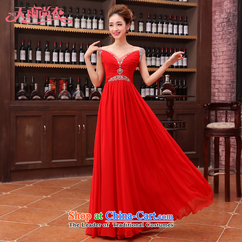 Rain-sang yi?2015 new products sweet bride wedding dresses, stylish long skirt long marriage bows services LF183 RED?M