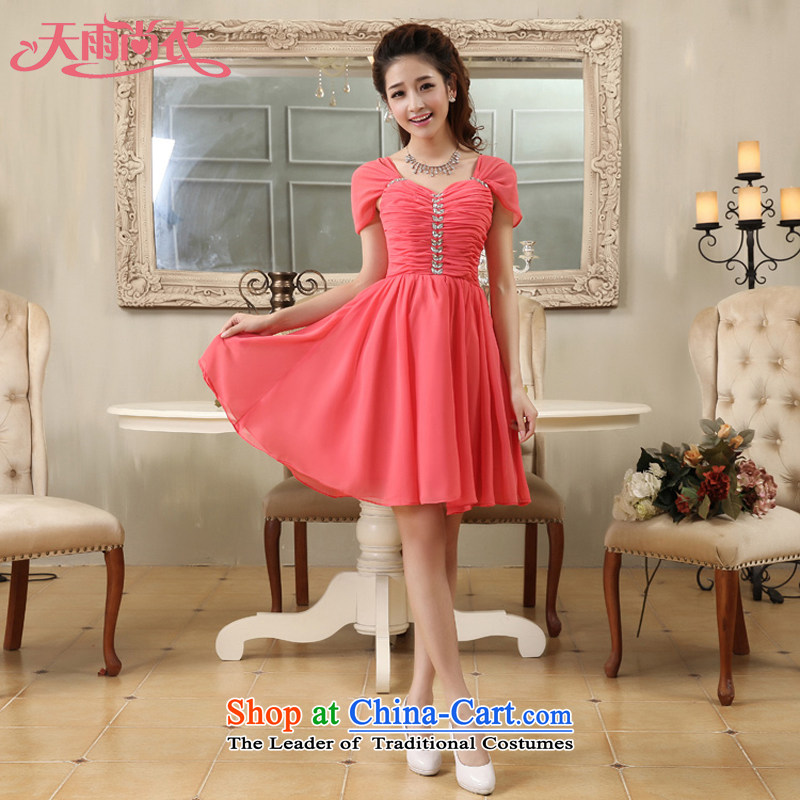 Rain-sang yi?2015 new marriages bridesmaid small Dress Short, shoulders the chiffon sister mission?LF171?watermelon red?XL