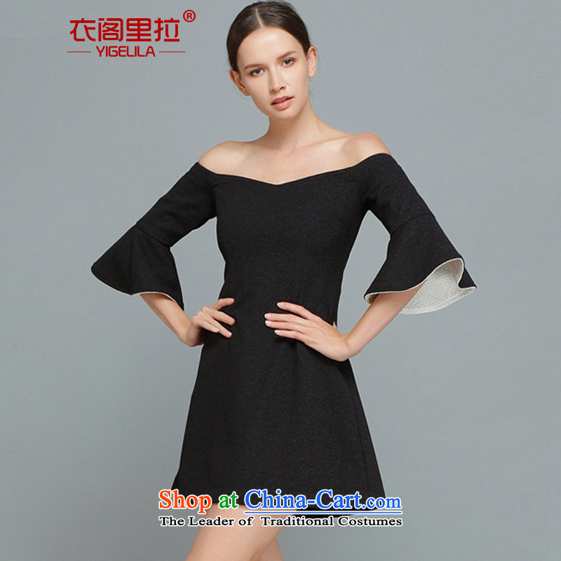Yi Ge word lire for bare shoulders temperament banquet dress skirt big temperament, omelet cuff thick skirt short skirt black 6463 L