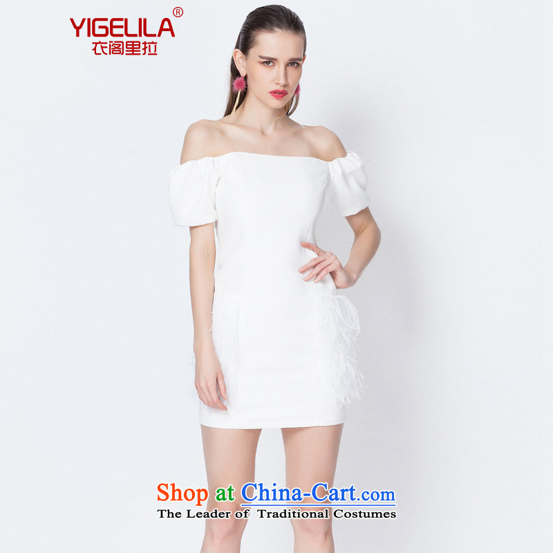 Yi Ge lire /YIGELILA aristocratic manually ostrich feathers dresses and pencil skirts skirt package a field shoulder slips skirt short skirt white 6597 L