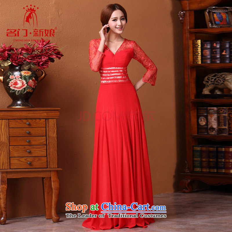 A聽new bride 2015 Red Dress bows dress lace 9 video thin 605 red sleeved聽M