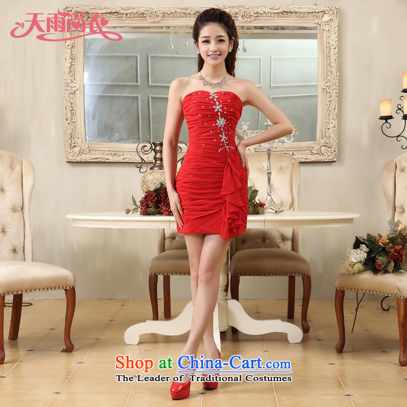 Rain-sang Yi marriages 2015 new sweet princess short, red bridesmaid small and bride dress skirt package service LF174 bows red�XL