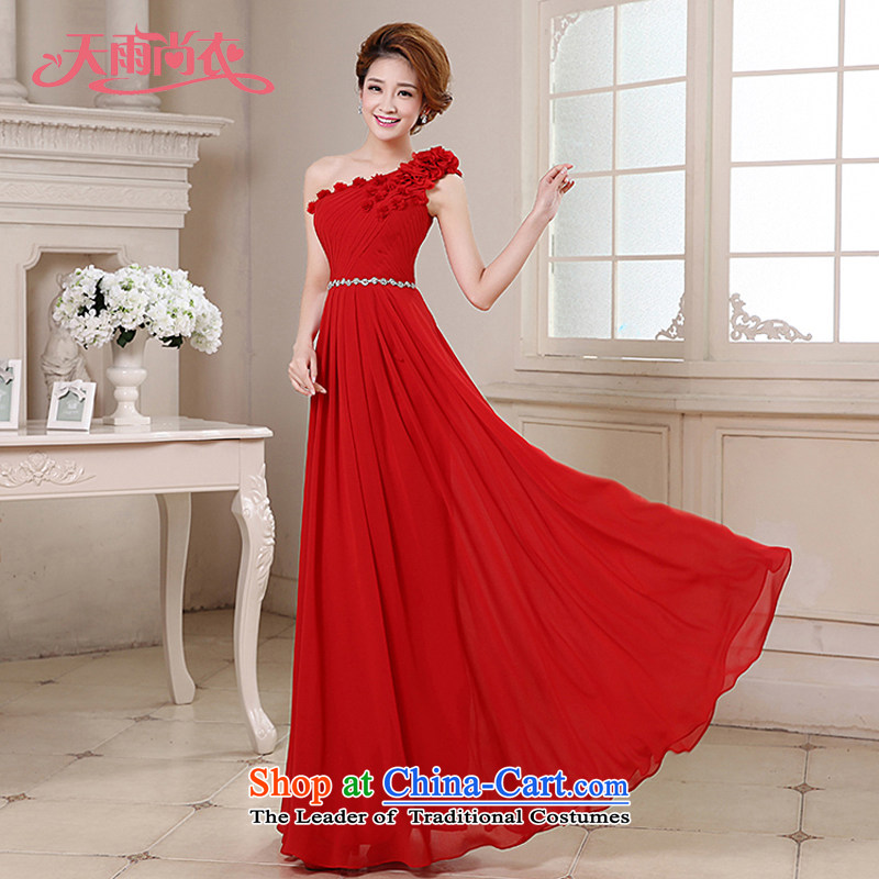 Rain-sang yi 2015 new marriage bride bows services performed by the persons chairing the video thin elegant shoulder flowers long gown LF187 RED?M