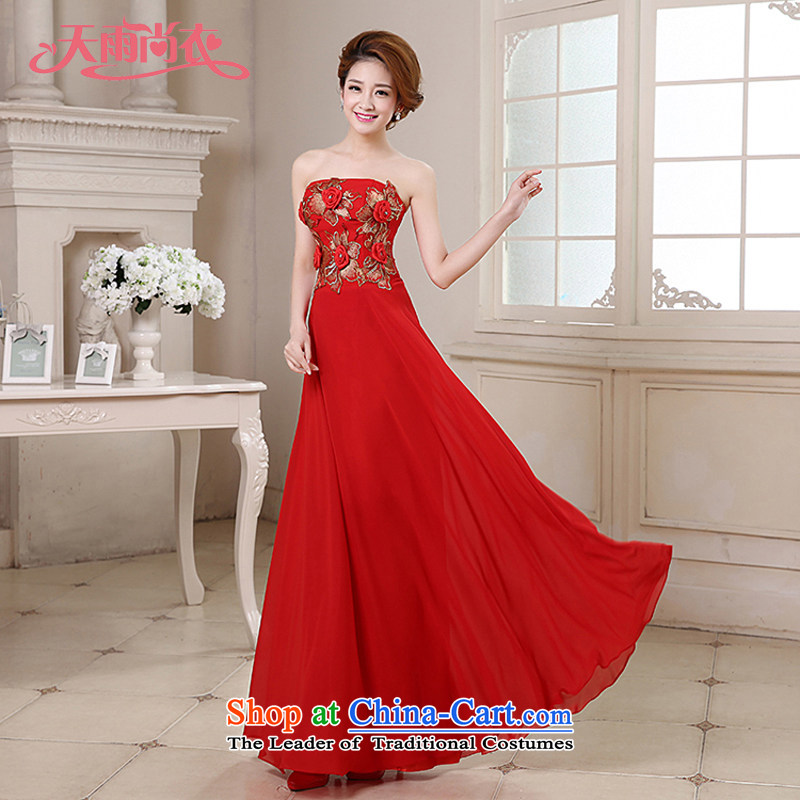 Rain-sang yi 2015 new marriage bride bows services performance moderator evening flower anointed chest video thin gown LF188 RED?S