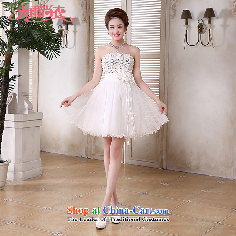 Rain-sang yi 2015 new bridesmaid small dress bride small wedding marriage and chest straps white bon bon short skirts of Princess LF189 White XL