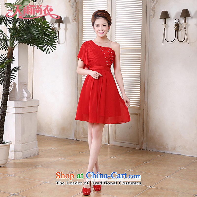 Rain-sang yi bride Wedding 2015 new marriage bows to the princess sweet shoulder short of small dress LF192 bridesmaid Red Red?M