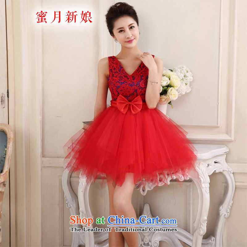 Honeymoon bride 2015 new bride Dress Short, lace short skirt and sisters skirt small dress bows evening dresses gathering performance birthday services RED M