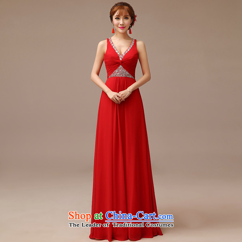 In spring and summer 2015 Man Jie new marriages bows to shoulder strap with red double-graphics v-neck bows services thin red L
