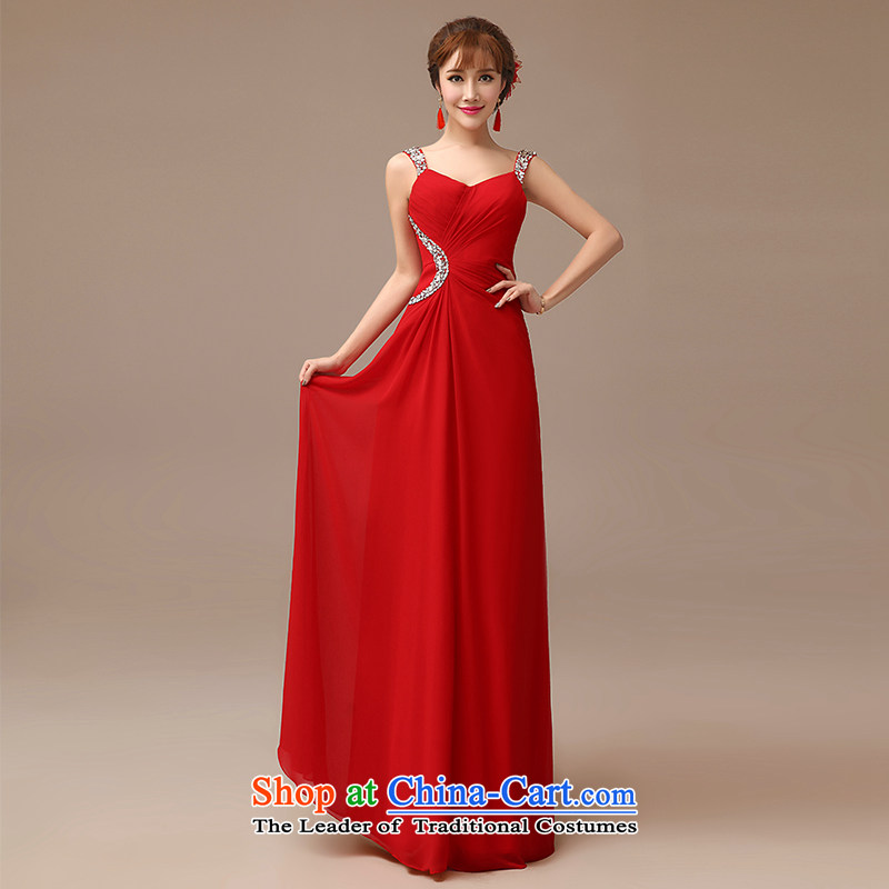 2015 New Red video thin dress bride wedding bows services long red slotted shoulder dress red?XXL
