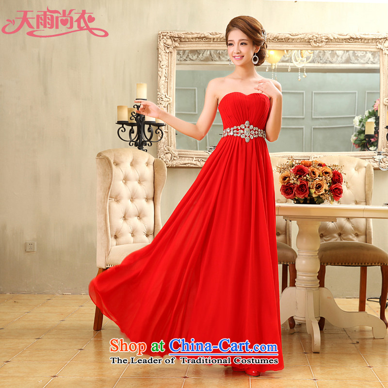 Rain in?spring 2015, Yi Sang new anointed chest long skirt marriages betrothal hotel services the lift mast bows long gown LF103 large red?M