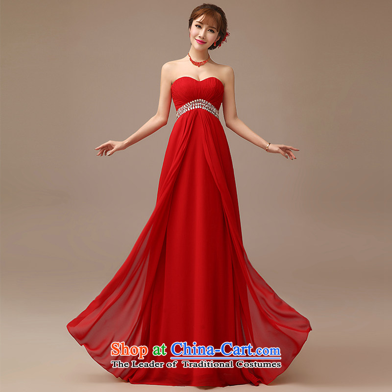 Clean the?new 2015 spread red dress banquet hosted bows dress Korean large thin video   Top Loin of pregnant women serving drink bride red?L
