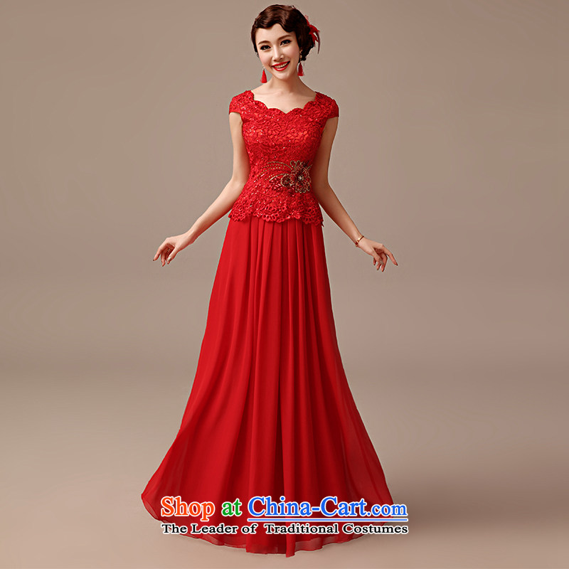 2015 new marriages bows service long word for package retro shoulder lace red dress red聽L