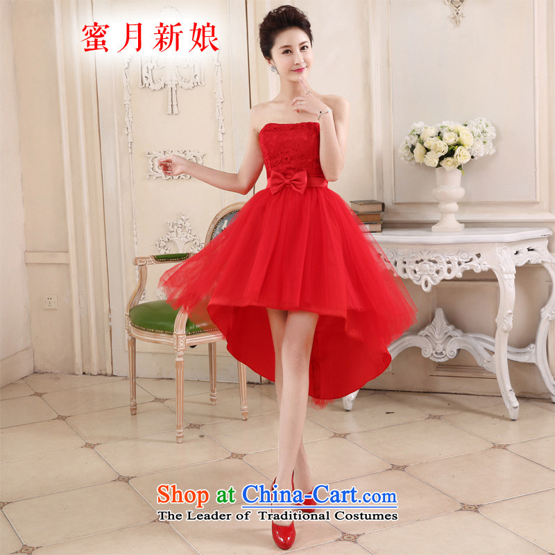 Honeymoon bride in spring and summer 2015 new bride front stub long after the marriage of lace red bows services small gatherings skirt red dress?XL
