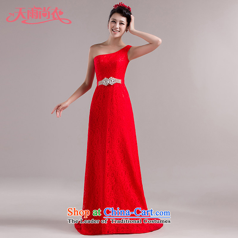 Rain-sang Yi New moderator long skirt temperament, bridal dresses court dress bows services shoulder diamond lace long mopping LF104 dress red L