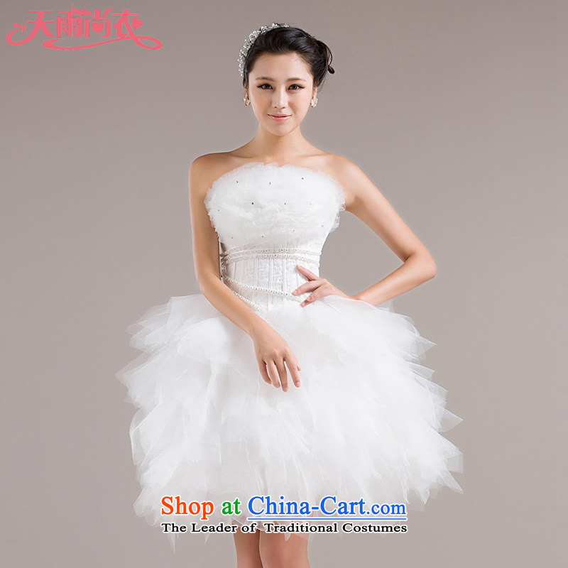 Rain-sang yi wedding dress the new bride dress bridesmaid dress stylish will show short of dress LF100 White?M