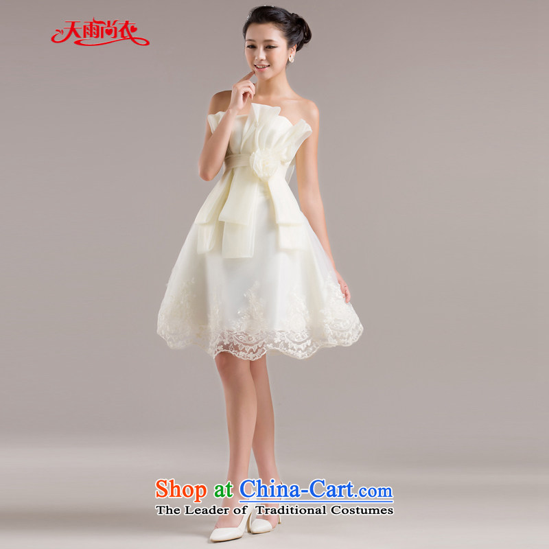 Rain-sang Yi Wedding Spring New 2015 wedding dress bridesmaid dress uniform evening dresses summer bows short skirt LF96, champagne color S