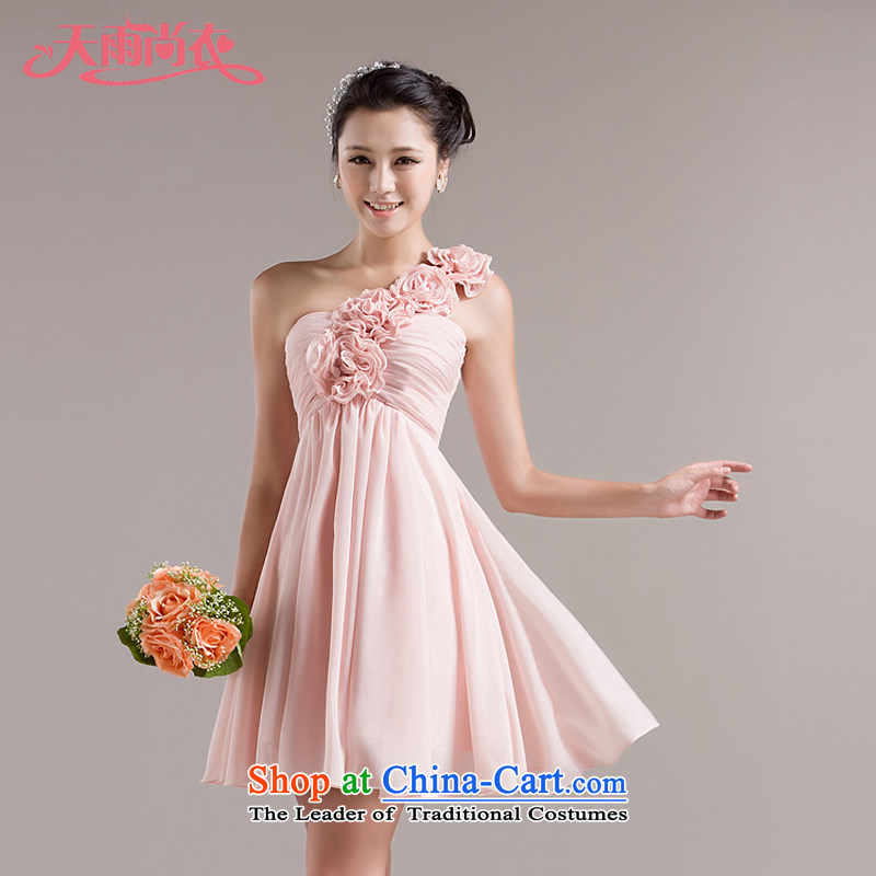 Rain-sang yi?2015 new bridesmaid dresses sweet shoulder flowers bride services sister short of bows small dress LF97 meat pink?M