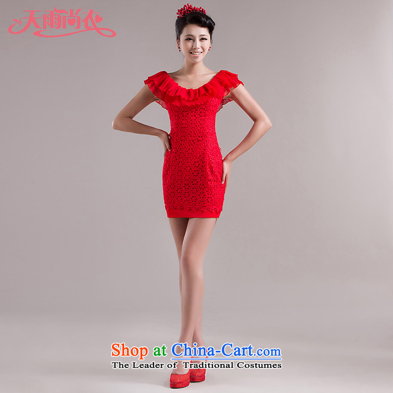 Rain-sang Yi marriages video thin dresses marriage red dress bride bows back to the door in a small short bridesmaid dress LF107 RED?M