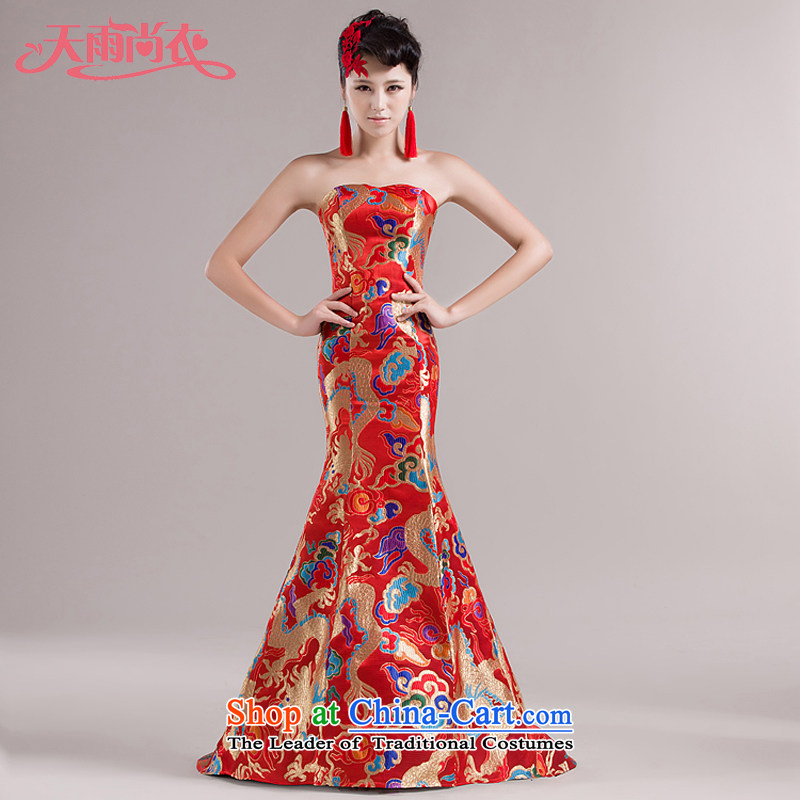 Rain Coat with stars are robes of the dragon, under the auspices of evening dresses marriages bows services small trailing performances qipao�LF110 services�red�XL