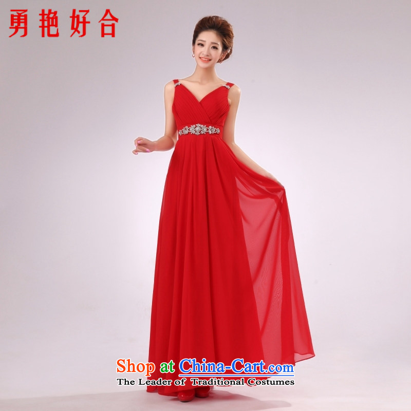 Yong-yeon and�2015 New chiffon long gown red Female dress bride bridesmaid will shoulder dress red�XXL
