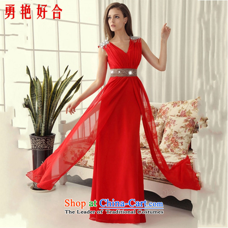 Yong-yeon and�2015 New retro bride bridesmaid toasting champagne evening performances services/Long/champagne color dress hand-making red color as the size of the non-refundable