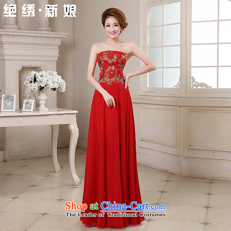 Embroidered Bride Korean is by no means a new three-dimensional wedding flower long gliding anointed chest bows dress red made does not allow