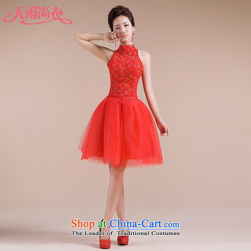Rain-sang yi bride Wedding 2015 new red short, bows to hang the history of marriage with diamond bridesmaid small dress LF89 RED?S