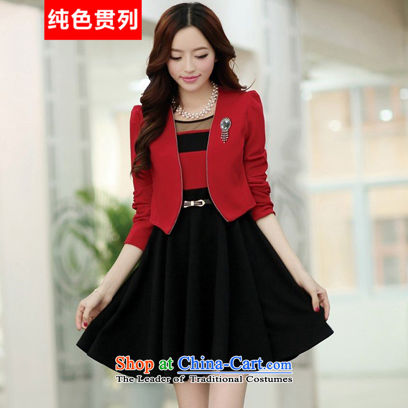 Pure color consistency of the spring and autumn 2015 a new list of Korean version two kits OL commuter dress bridesmaid long-sleeved dresses red jacket black skirt No. 1)�XL