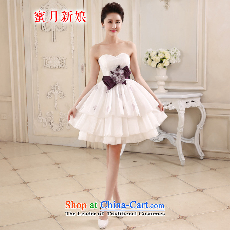 Honeymoon bride white short of 2015 bridesmaid small short skirts and chest sweet bon bon princess small short skirt evening dress party white聽S