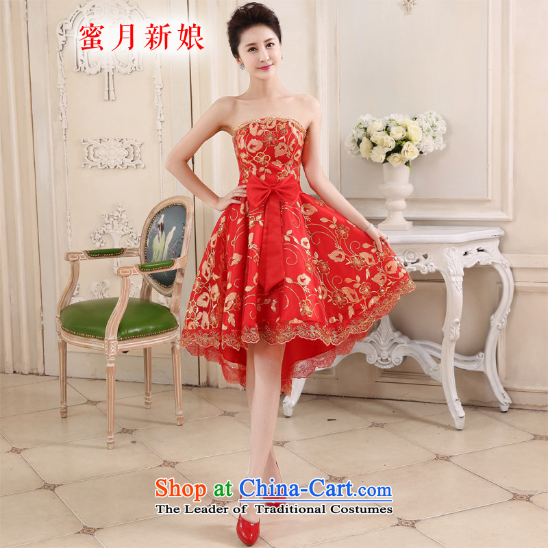 Honeymoon bride in spring and summer 2015 new bride front stub long after the marriage of lace red bows to the small red qipao gown skirt?XL