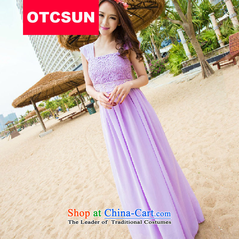 Yet Liqi�2015 Summer new long evening dresses bridesmaid evening dress banquet dress long skirt skirt 5827# violet�M