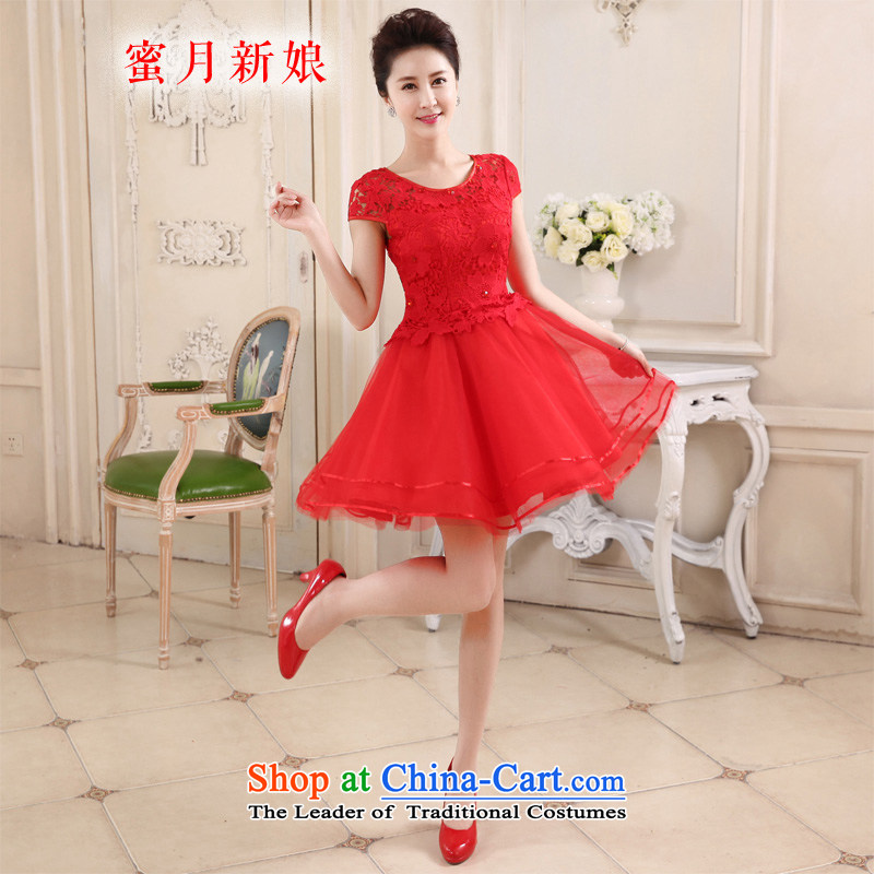 Honeymoon bride 2015 new red married women serving the word bows shoulder lace stylish Sweet dress Sau San spring and summer large red?M