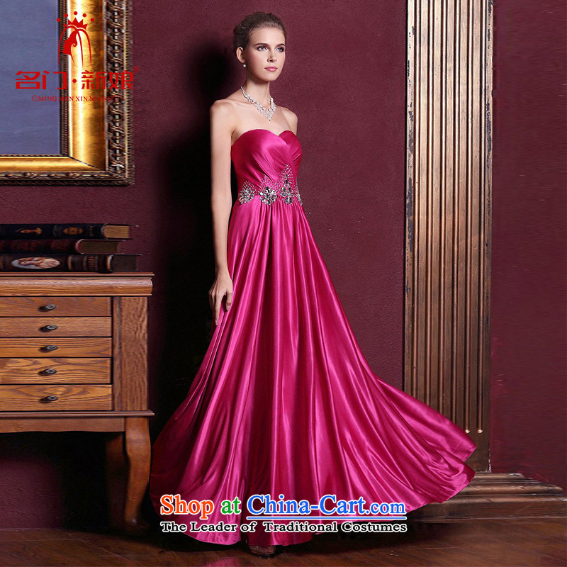 A Bride dress marriage�new bows Services 2015 Long bridesmaid dress plum evening dress�in red 223�M