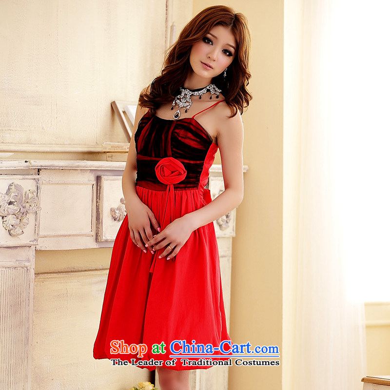 ?The Korean version of the aristocratic Jk2.yy sweet Foutune of flower lanterns gown princess van strap dresses red?XL
