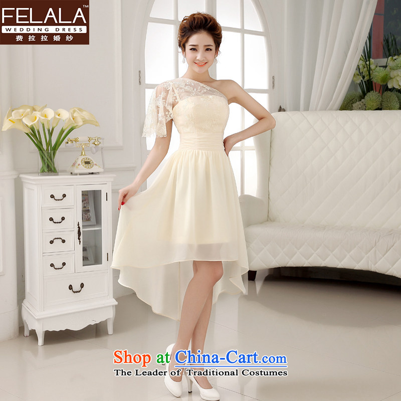 Ferrara 鈾� 2015 new wedding dress champagne color bridesmaid short of mission bridesmaid dress code evening dresses summer large聽E聽M聽Suzhou Shipment