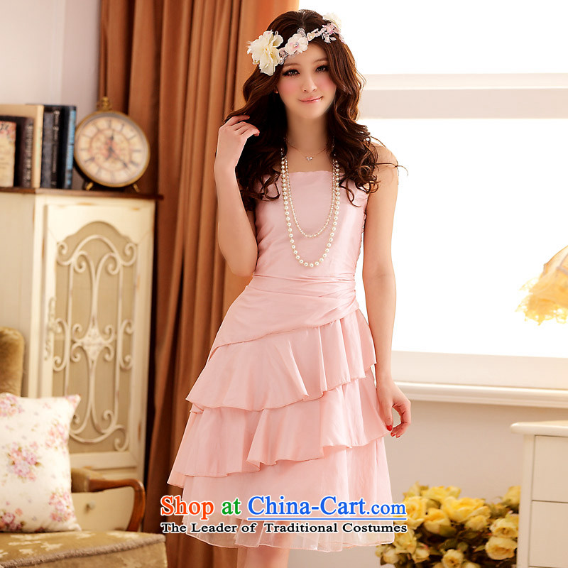 ?The Korean version of the aristocratic Jk2.yy Niba gauze dinner will bridesmaid dress sister strap dresses?XXXL Pink